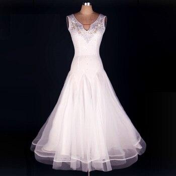 Lady Ballroom Dancing Dress Sleeveless Diamond Long Dress Waltz Tango Dancing Competition Tango Foxtrot Dance Suit  D-0155