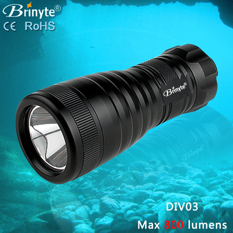 ФОТО Brinyte DIV03 LED Diving Light CREE XML2 800lm LED Scuba Diving Torch LED Dive Flashlight 200M Underwater Lamp (3*AA Battery)