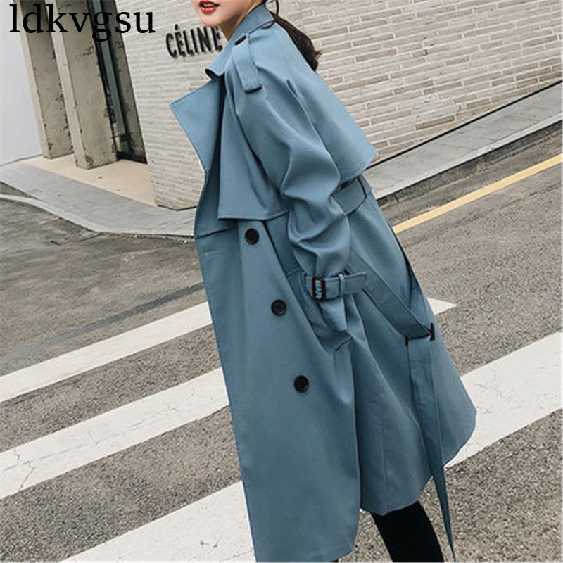 Fashion Double-breasted Windbreaker Women 2019 Spring Autumn New Korean Casual Chic Loose Ladies Long   Trench   Coat V336