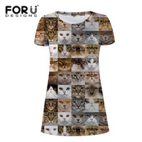 FORUDESIGNS Women Dress Cute Animals Dress Lady O Neck Short Sleeve Sundress Vestidos Femininos Elastic Causal