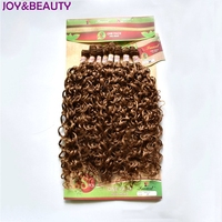 JOY&BEAUTY Mongolian Kinky Curly Synthetic Hair Bundle 8pcs 20 24inches short hair extensions afro 4 Color