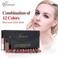 12PCS Lip Gloss Set Velvet Liquid Lipstick Professional Makeup Matte Lipstick Lip Kit Long Lasting Cosmetics Maquiagem L17013