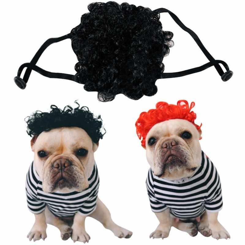 Śmieszne pies peruka kolorowe miękkie włosy syntetyczne psy urocza czapka na Cosplay kostium na halloween przebranie uroczy prezent dla psa kota