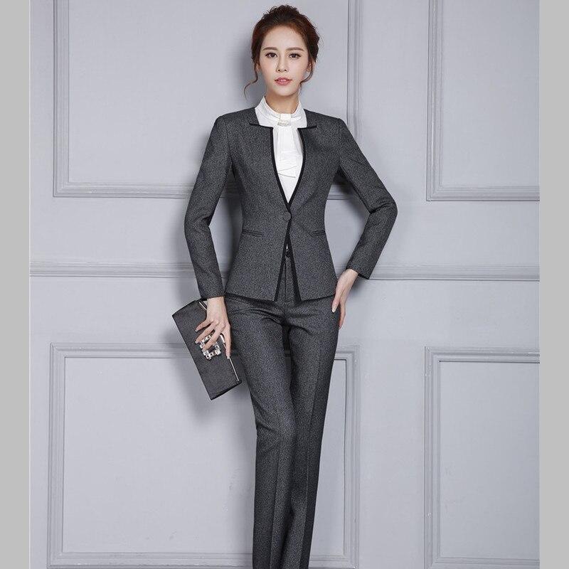 9a7e4e32401228 La 2019 D'affaires Ensemble Grande Veste Travail gris Noir Mode Lady ...