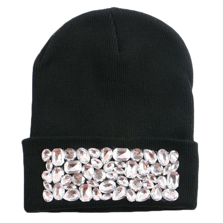 824633b33c1 women girl luxury brand winter hat cap beanie customized design clear bead  rhinestone beauty woman men