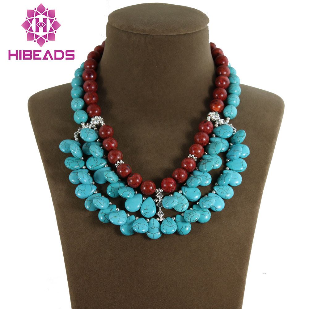 Fashion 3 Rows Teardrop Stone Pendant Necklace Red Coral Beaded Chunky Bib Necklace TN091 teardrop faux crystal pendant necklace