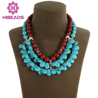 Fashion 3 Rows Teardrop Stone Pendant Necklace Red Coral Beaded Chunky Bib Necklace TN091