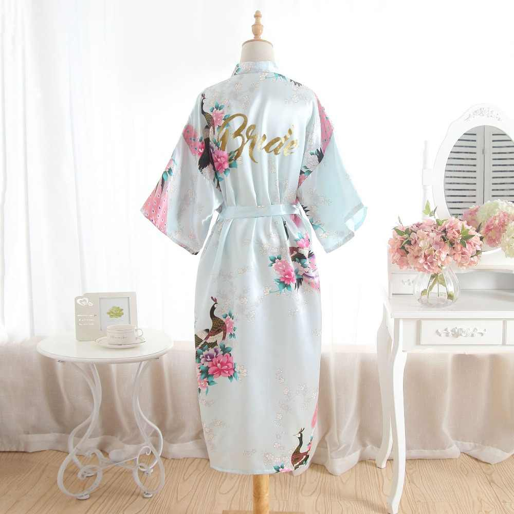 c344b369e6 ... Silk Bridesmaid Bride Robe Maid Of Honor Robe Mother Of The Robes Women Satin  Wedding Kimono ...