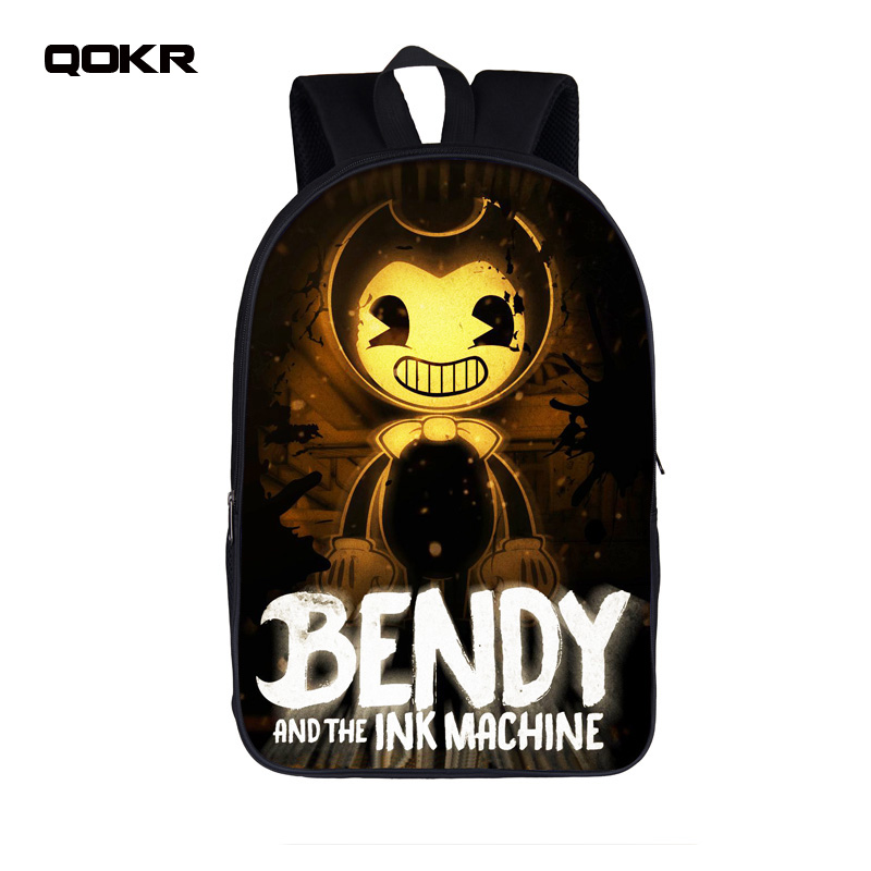QOKR Cartoon Bendy And The Ink Machine Students Backpack For Teens Boys Girls Children School Bags Bendy and Boris Kids Backpack