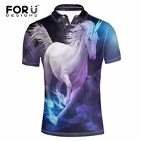 FORUDESIGNS Crazy 3D Horse Camisa Polo Men Casual Polos Animal Pattern Mens Polo Summer Short Sleeved