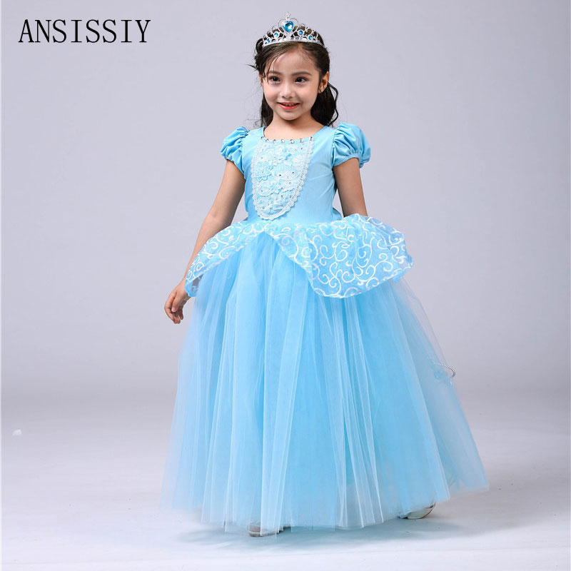 2018 Summer Christmas Princess Cinderella Dress Girls Blue Mesh Long Costume Princess Party Vestido Ball Gown Cosplay for 3-10y цены онлайн