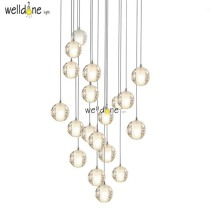 Modern Crystal pendant Lights Fixtures DIY Magic Globes Ball Lamps Loft Meteor Shower LED Light With bubbles For Restaurant