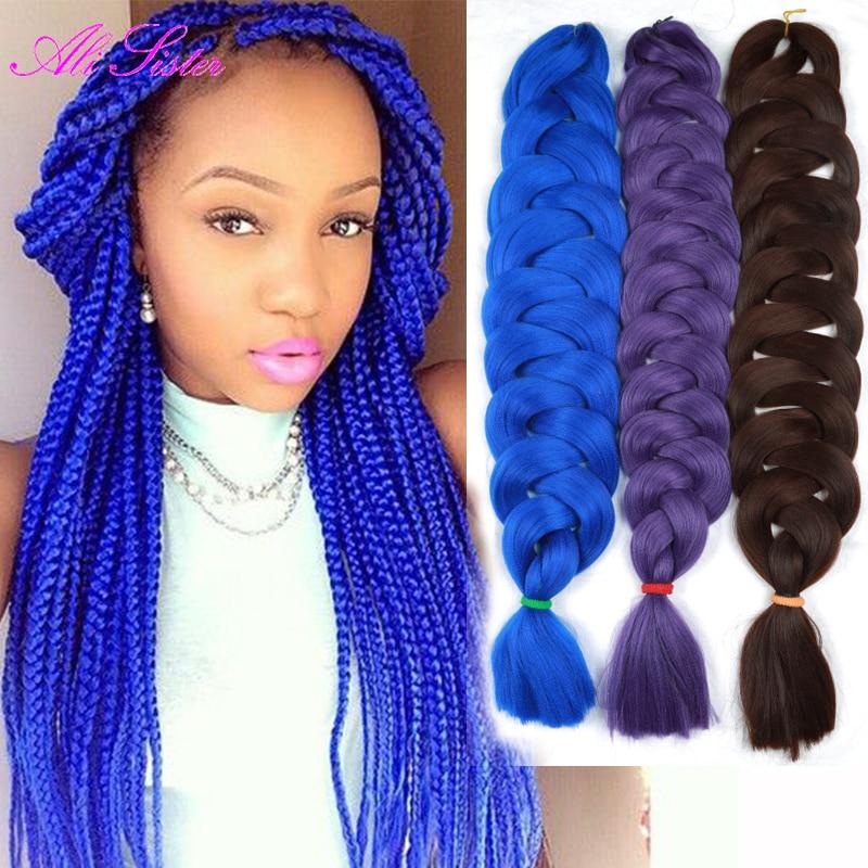 Blue Color Kanekalon Jumbo Bulk Jumbo Braid Hair Crochet
