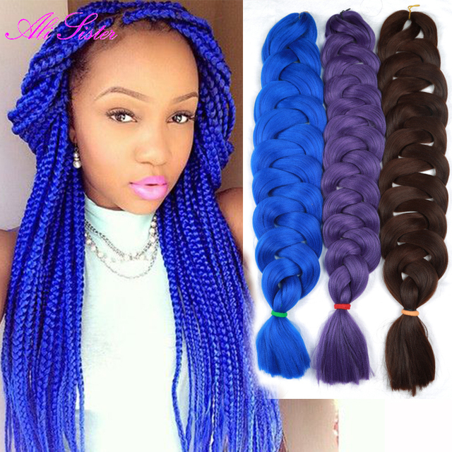 Blue Color Kanekalon Jumbo Bulk Jumbo Braid Hair Crochet Hair