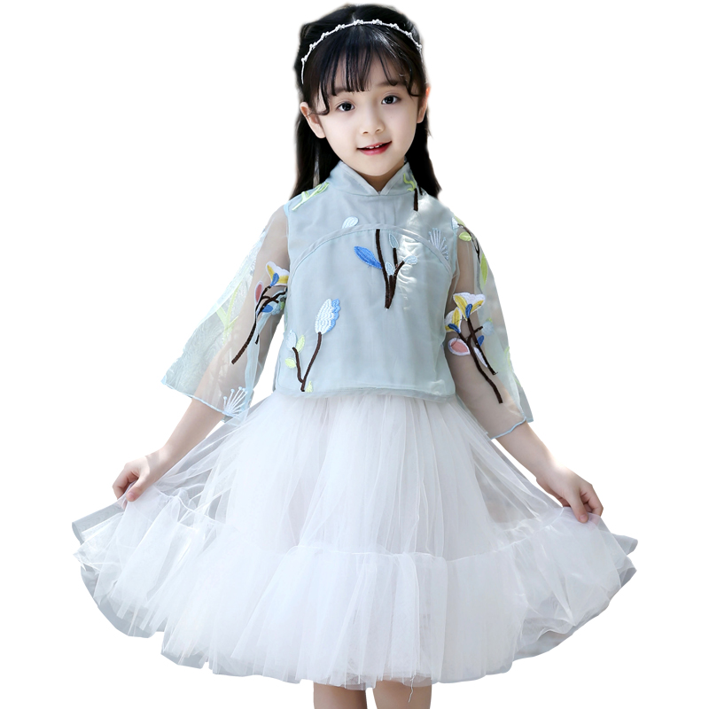 2pcs Kids Girls Toddler Outfits Tops Blouses Shirts + Tutu Skirts Kids Clothes Girls Clothing Sets Summer Chinese Style Costume 2018 little girls 2 pieces tutu skirt clothing sets summer cartoon cute cat toddler girl short tops lace skirts kids outfits