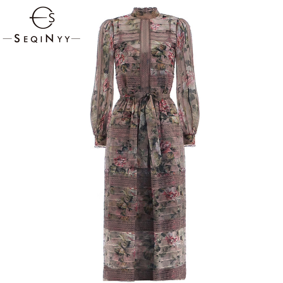 SEQINYY Long Dress 2019 Summer Spring New Fashion High Quality Spliced Lace Pink Flowers Printed Elegant