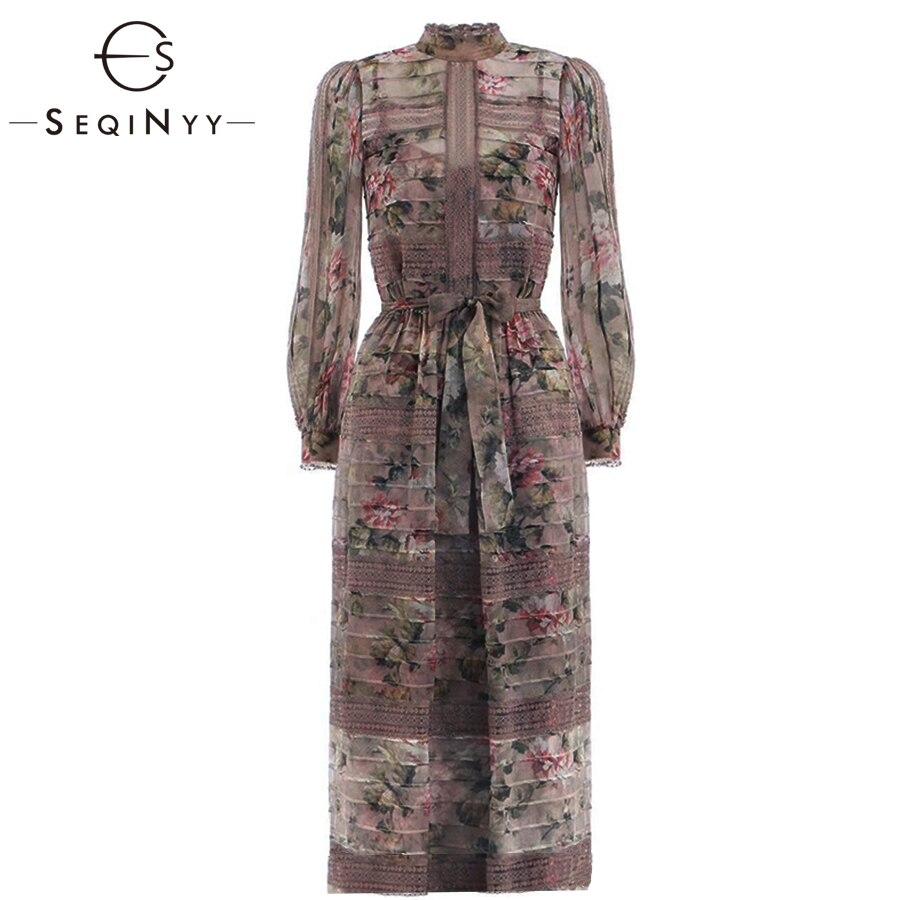 SEQINYY Long Dress 2019 Summer Spring New Fashion High Quality Spliced Lace Pink Flowers Printed Elegant Grey Dress Women
