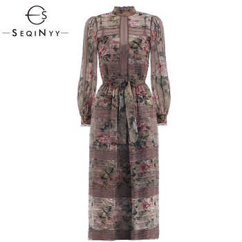 SEQINYY Long Dress 2019 Summer Spring New Fashion High Quality Spliced Lace Pink Flowers Printed Elegant Grey Dress Women - DISCOUNT ITEM  20% OFF All Category