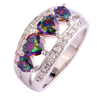 lingmei Gorgeous Jewelry Wholesale Fashion AAA Heart Cut Rainbow White Topaz 925 Silver Ring Size 6 7 8 9 10 11 12 Free Shipping