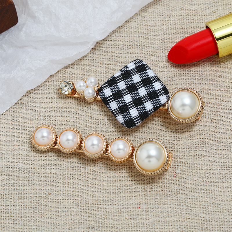Hot Sale Cotton Stone Simulated Pearl Pretty New Hair Clip For Popular Girls Charm Flower Sweet lattice Hairpins Women Jewelry in Hair Jewelry from Jewelry Accessories