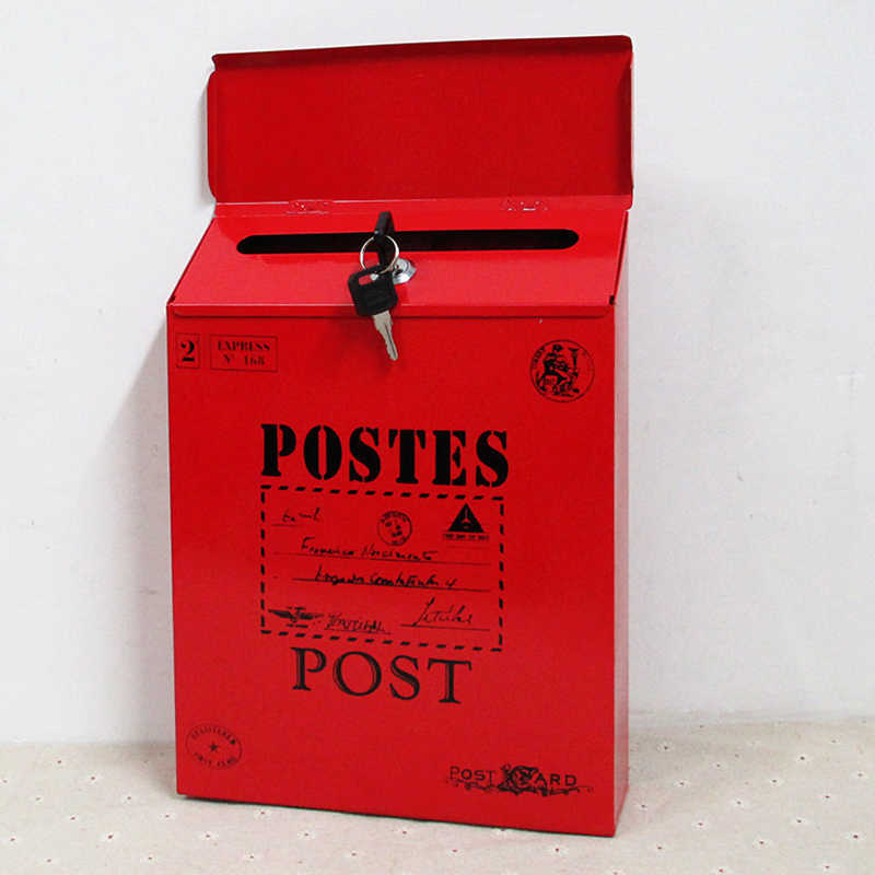 IdYllife домашний почтовый ящик, садовая почтовая коробка, запираемый почтовый ящик с замком для ключей, коробка с надписью, наружная дверь, крыльцо, подвесное украшение