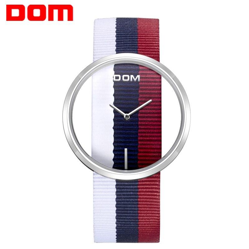 Женские часы DOM модные повседневные кварцевые часы со скелетом для девочек, кожаные холщовые женские наручные часы для женщин relogio feminino