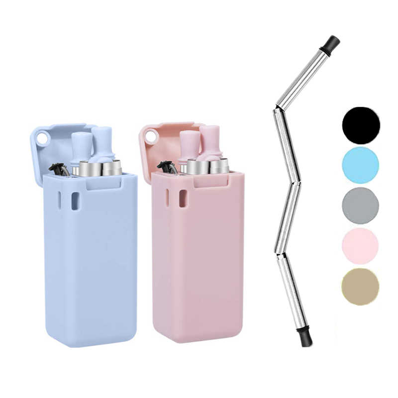 EIMAI Foldable Stainless Steel Drinking Straw Collapsible Reusable Metal Straw Keychain Hole Travel Outdoor Household Home