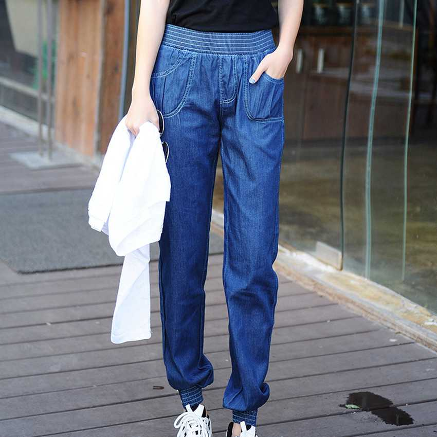 #2009 2017 Spring summer Thin Pantalon femme Casual Plus size Elastic waist jeans Loose jeans femme Denim Vaqueros mujer