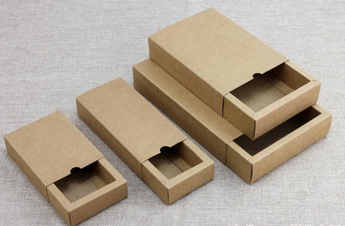 50 PCS/Lot livraison gratuite boîte-cadeau au détail noir Kraft papier tiroir boîte cadeau artisanat batterie externe emballage boîtes en carton