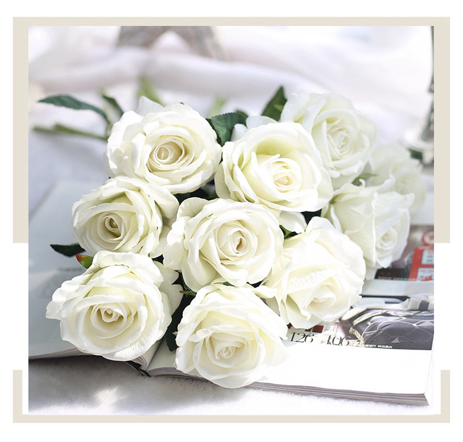 10 Pcslot Wedding Decoration White Rose Artificial Flowers Romantic
