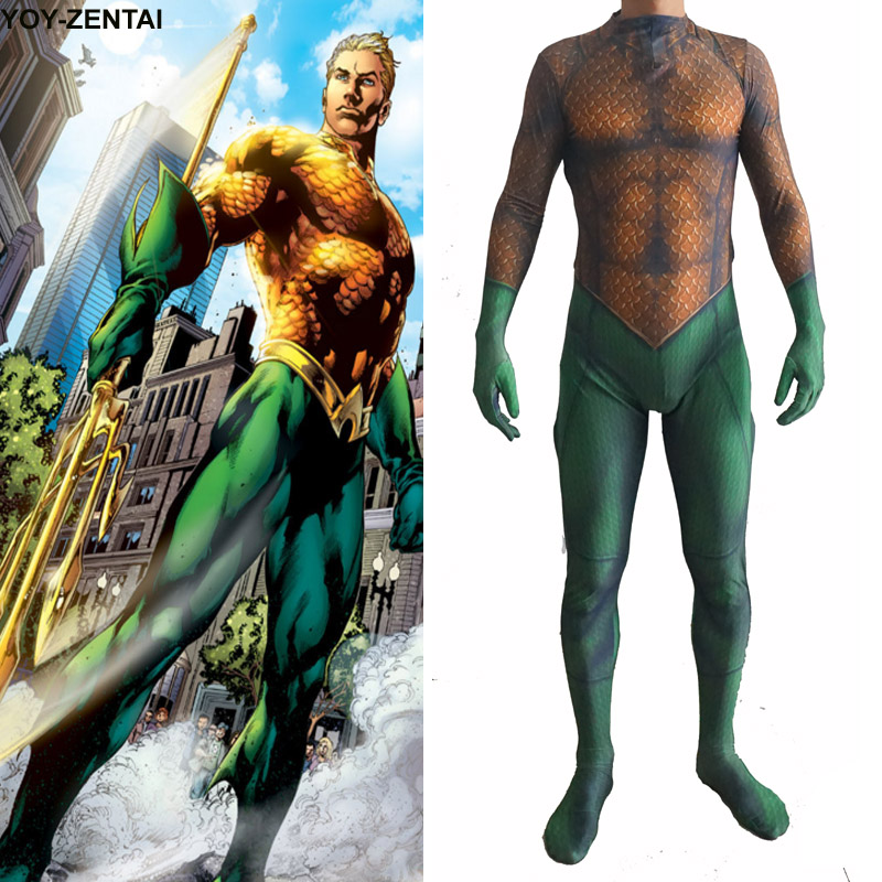 Movie Coser High Quality Custom Made Newest Hero Aquaman Suit Spandex Aquaman Suit Zentai Hero Aquaman Costume