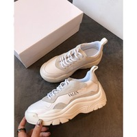 Luxury brand women's shoes 2019 new leather wild fashion trend comfortable running shoes thick bottom outdoor breathable casual