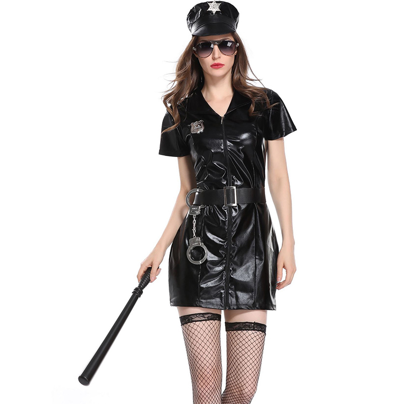 4 PCS Women Sexy Erotic Cop Police Costume Leather Mini Dress Handcuffs Hat Belt Halloween Officer Policewomen Cosplay Outfit