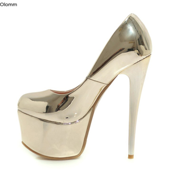 Olomm New Women Shiny Platform Pumps Sexy Stiletto High Heels Pumps Round Toe Pretty Gold Silver Party Shoes Women US Size 3-16 фото