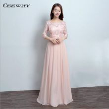 Pink Three Quarter Sleeves Cheap Chiffon Lace Long Evening Dress 2017 Formal Gowns Prom Wedding Party Dress Robe de Soiree