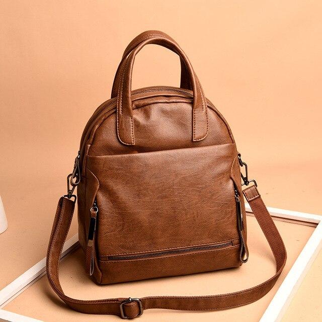 Chu JJ Vintage Multifunctional Genuine Leather Women s Backpacks Students  School Tote Bags Travel Lady Shoulder Bag 6d4053f9a7f5b