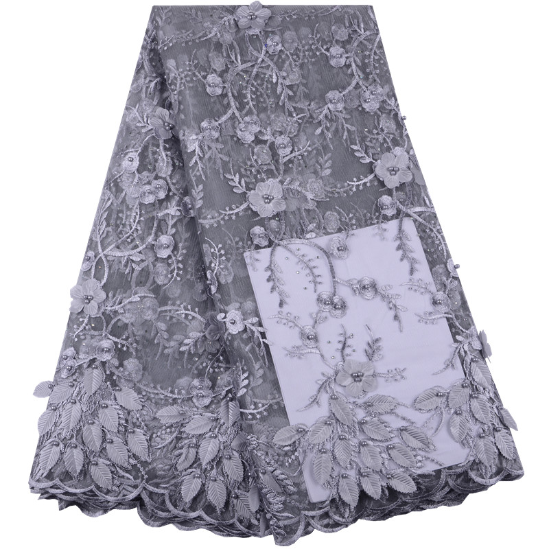 New French Net Lace Fabrics 3D Flower African Tulle Mesh Lace High Quality Nigeria Lace Fabric