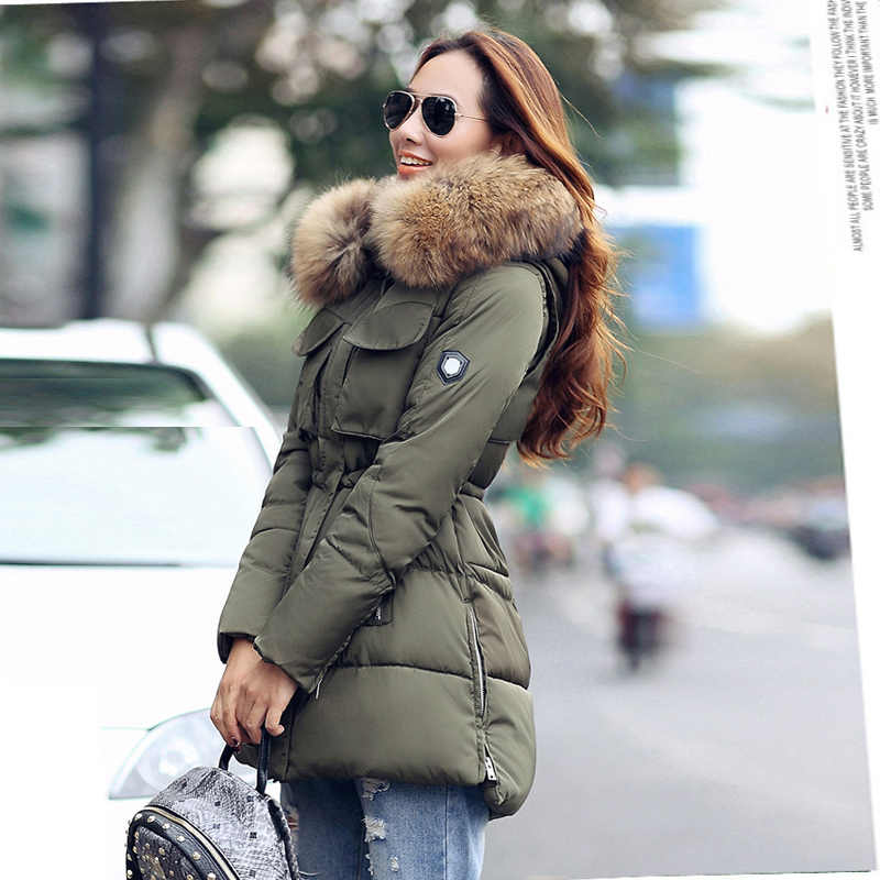 69c311225fb YEYELANA High Quality Large Real Fur 2018 Winter Jacket Women Genuine  Raccoon Fur Collar Hooded Thick