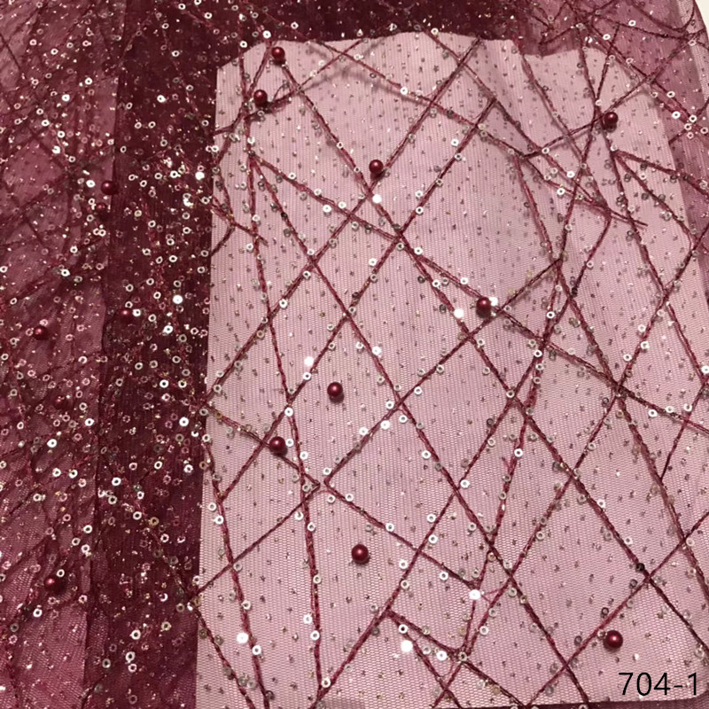 African Sequins Lace Fabric 2019 Embroidered Nigerian Laces Fabrics High Quality French Tulle Lace Fabric For Women 704African Sequins Lace Fabric 2019 Embroidered Nigerian Laces Fabrics High Quality French Tulle Lace Fabric For Women 704