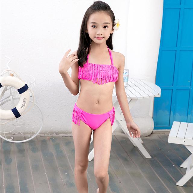 6-16Y Girls Bikini Set 2018 Baby Girls Summer Tassel Kids Split Swimwear Swimsuit Bikini Beachwear Children Biquini Girls Gifts