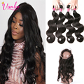 360 Lace Frontal With Bundle Peruvian Virgin Hair Body Wave With Lace Closure Brown Human Hair Weave Bundles With 360 Frontal