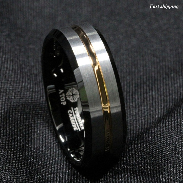 ATOP Men 8Mm Silver brushed Black edge Tungsten ring Gold inlay wedding band Free Shipping
