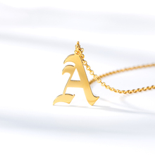 Old English Style Initial Necklaces Pendents Stainless Steel A-Z Letter Pendent Chain Choker Necklace Jewelry