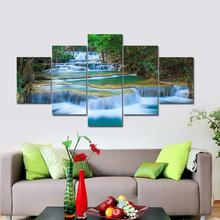 BANMU Large Peaceful Waterfall 5 Panels Modern Canvas Print Artwork Landscape Pictures Photo Paintings on Canvas Wall Art(China)