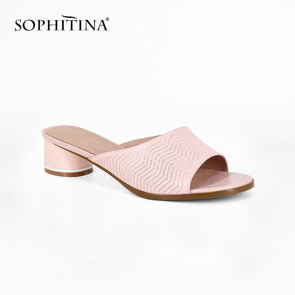 SOPHITINA New Fashion Woman Slipper Big Size 36 44 Pink Sheepskin Round Heels Summer Shoes High