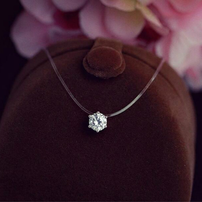 Silver Plated Shine Cz Crystal Zircon Necklace Invisible Transparent Fishing Line Short Pendant Neckalce for Women Jewelry Gift короткие золотые цепочки