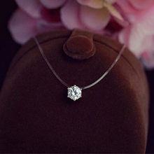 Silver Plated Shine Cz Crystal Zircon Necklace Invisible Transparent Fishing Line Short Pendant Neckalce for Women Jewelry Gift(China)