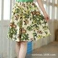 Желтый пион печать женщины короткая юбка белье хлопок леди юбка женская одежда