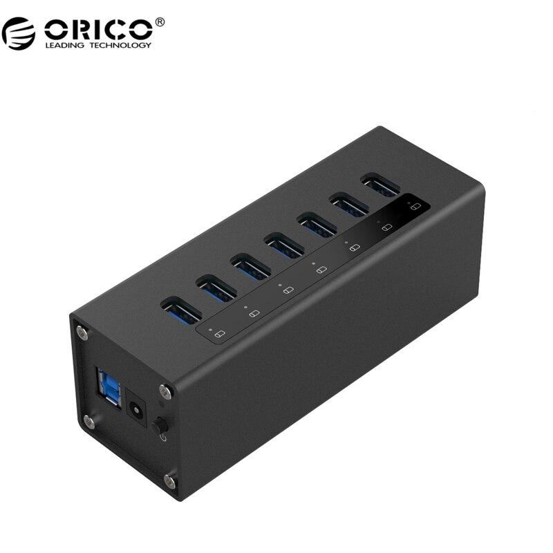 ORICO High Speed Aluminum 7 Port USB 3.0 HUB For PC/ Laptop - Black ( A3H7-BK) orico a3h4 4 port usb 3 0 high speed hub aluminum alloy hub w us plug power adapter black