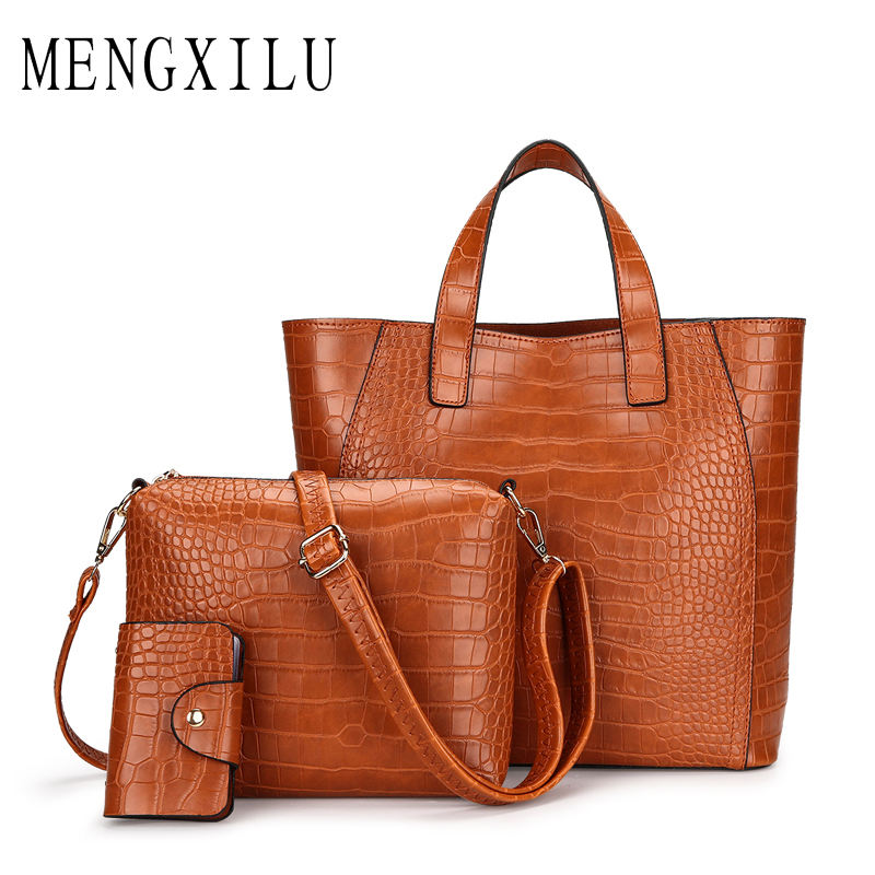 MENGXILU Brand 3 Pcs/Set Crocodile Bag Women Pu Leather Shoulder Bags Female Scarf Top-Handle Bag Casual Tote Purse Card Bags 3 pcs set vintage handbags women messenger bags female purse solid shoulder bags office lady casual tote new top handle bag